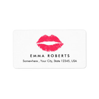 Makeup Artist Red Lips Elegant Beauty Salon Label