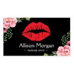 Makeup Artist Red Lips Elegant Floral Decor Pack Of Standard Business Cards