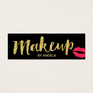 Makeup Artist Red Lips Gold Script Mini Mini Business Card