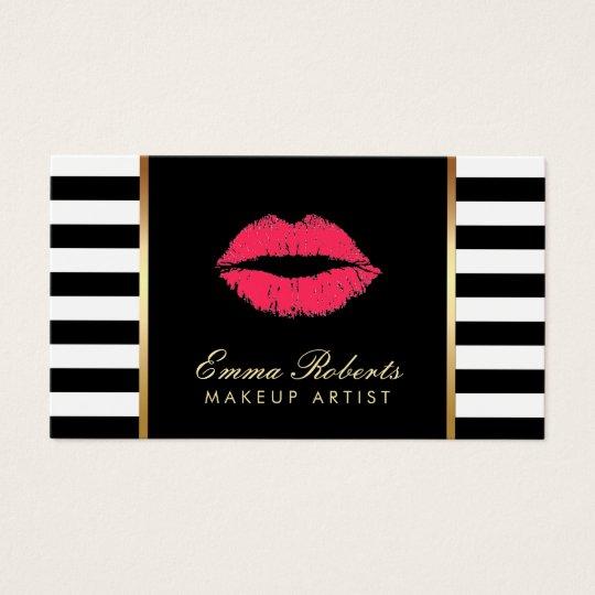 Makeup Artist Red Lips Modern Black White Stripes
