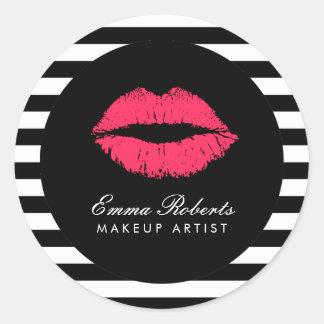 Makeup Artist Red Lips Modern Black White Stripes Round Sticker