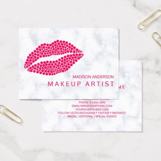 Makeup Artist | Red Lips Modern Dots Design Business Card