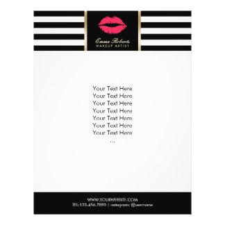 Makeup Artist Red Lips Modern Stripes Salon Flyer