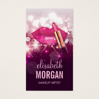 Makeup Artist Red Lips Pink Glitter Sparkling Business Card