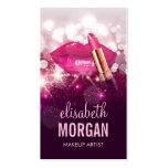 Makeup Artist Red Lips Pink Glitter Sparkling Pack Of Standard Business Cards