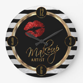 Makeup Artist Red Lips with White Stripes Large Clock