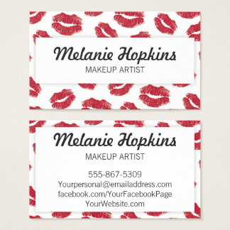 Makeup Artist Red Lipstick Kisses Business Card