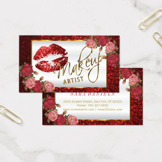 Makeup Artist - Red Rose Glitter Lip Design