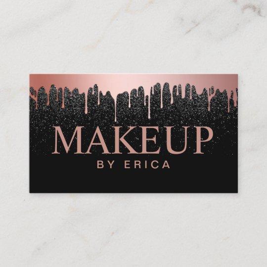 Makeup artist rose gold drips trendy black glitter business card makeup artist rose gold drips trendy black glitter business card reheart Choice Image