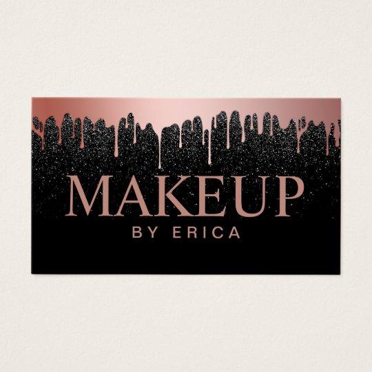 Makeup Artist Rose Gold Drips Trendy Black Glitter