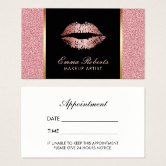 Makeup Artist Rose Gold Glitter Lips Appointment Business Card