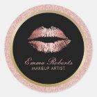 Makeup Artist Rose Gold Glitter Lips Modern Salon Classic Round Sticker