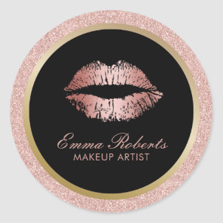 Makeup Artist Rose Gold Glitter Lips Modern Salon Round Sticker