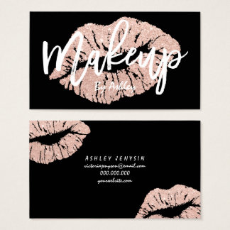 Makeup artist rose gold glitter lips typography