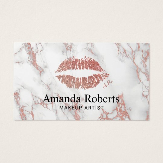 Makeup Artist Rose Gold Lips Charm Modern Marble Business Card