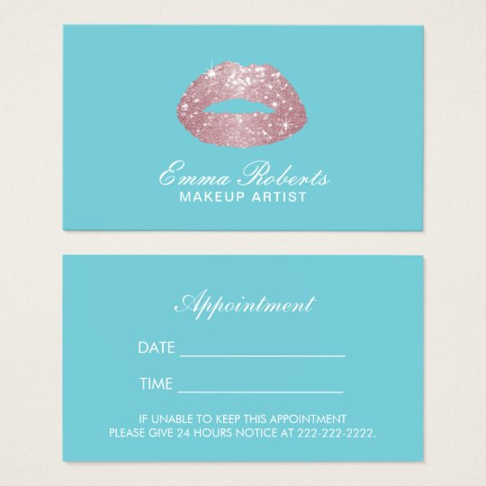 Makeup Artist Rose Gold Lips Egg Blue Appointment Business Card