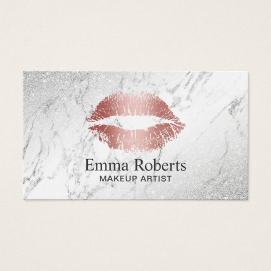 Makeup Artist Rose Gold Lips Elegant Marble Salon