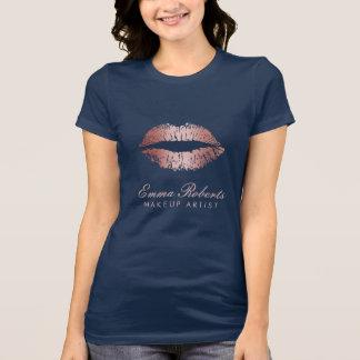 Makeup Artist  Rose Gold Lips Elegant Navy Blue T-Shirt