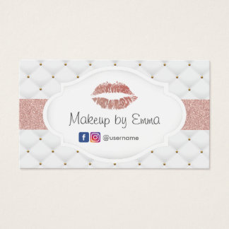 Makeup Artist Rose Gold Lips Luxury Quilts Business Card