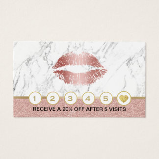 Makeup Artist Rose Gold Lips Marble Loyalty Business Card