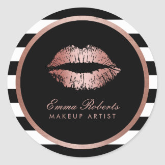 Makeup Artist Rose Gold Lips Modern Stripes Classic Round Sticker