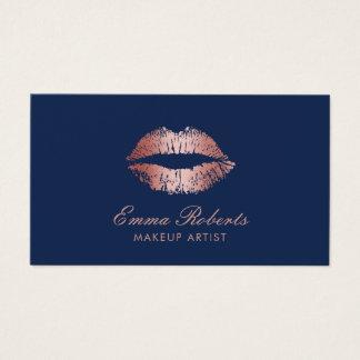 Makeup Artist Rose Gold Lips Navy Blue Salon Business Card