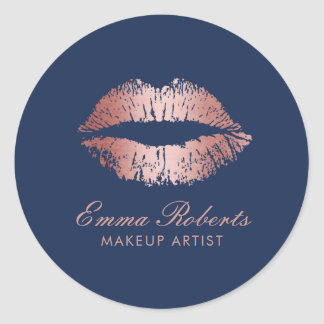 Makeup Artist Rose Gold Lips Navy Blue Salon Classic Round Sticker