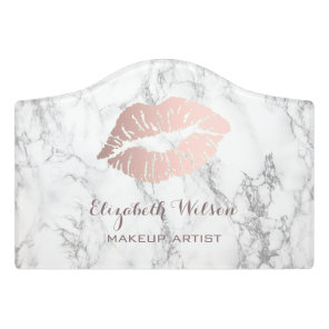 makeup artist rose gold lips on marble door sign