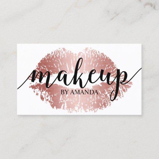 Makeup artist rose gold lips print salon business card zazzle makeup artist rose gold lips print salon business card reheart Choice Image
