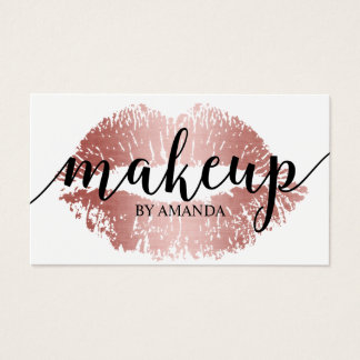Makeup Artist Rose Gold Lips Print Salon Business Card