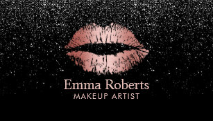 Makeup artist business cards zazzle uk makeup artist rose gold lips trendy black glitter business card reheart Choice Image