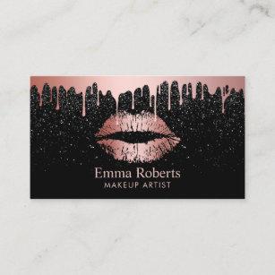 Makeup artist business cards zazzle uk makeup artist rose gold lips trendy dripping business card colourmoves