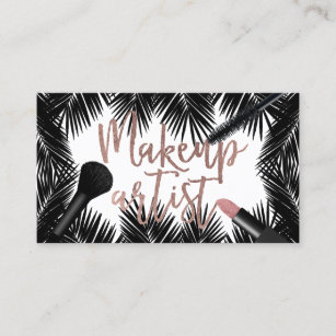 Gold palm tree business cards business card printing zazzle uk makeup artist rose gold script tropical palm trees business card colourmoves