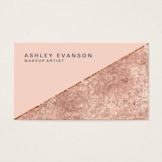 Makeup Artist Rose Gold Shimmer Elegant Business Card