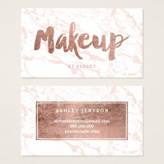 Makeup artist rose gold typography pink marble business card
