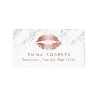 Makeup Artist Rose Rose Gold Lips Salon Marble Address Label