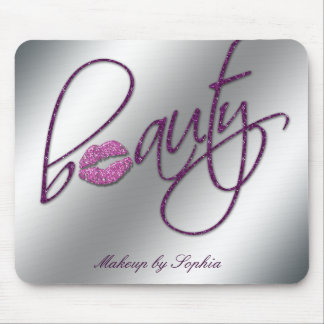 Makeup Artist Salon Cosmetology Pink Lips Glitter Mouse Pad