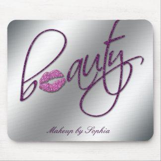 Makeup Artist Salon Cosmetology Pink Lips Glitter Mouse Pads