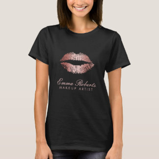 Makeup Artist Salon Modern Rose Gold Lips T-Shirt