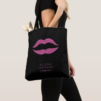 Makeup artist salon name hot pink lips black tote bag