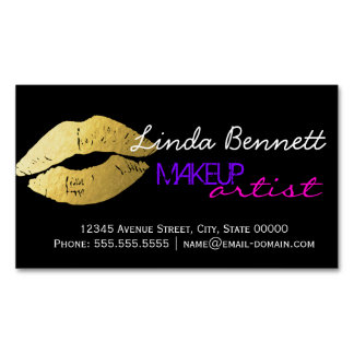 Makeup Artist - Sassy Gold Lips Dark Theme Style Magnetic Business Card