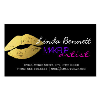Makeup Artist - Sassy Gold Lips Dark Theme Style Pack Of Standard Business Cards