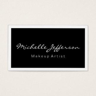 Makeup Artist Script Black White Business Card
