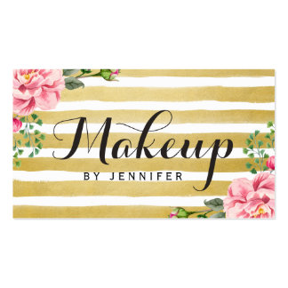 Makeup Artist Script Classy Floral Gold Striped Pack Of Standard Business Cards