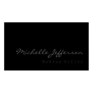 Makeup Artist Script Grey Black Business Card