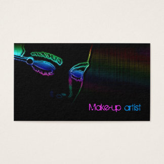 Makeup Artist Simple Black With Neon Light Card
