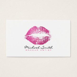 Makeup Artist Stylish Pink Glitter Lips #2 Business Card
