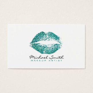 Makeup Artist Stylish Turquoise Glitter Lips Business Card