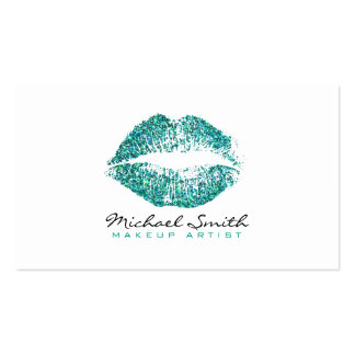 Makeup Artist Stylish Turquoise Glitter Lips Pack Of Standard Business Cards