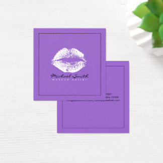 Makeup Artist Stylish White Lips Modern Amethyst Square Business Card
